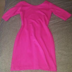 Hot pink half sleeve body contour dress